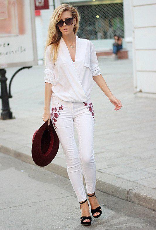 15 Ideas equipo de moda con los pantalones vaqueros blancos