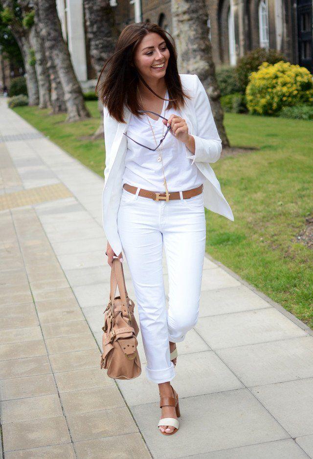 Todo-Blanco Idea traje para la Mujer