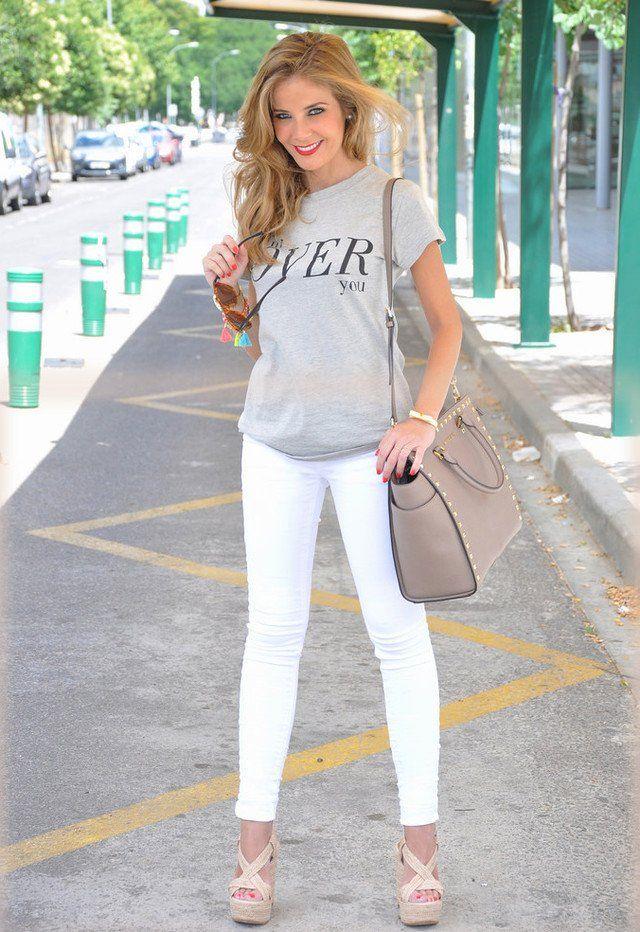 Casual Jeans blancos traje Idea
