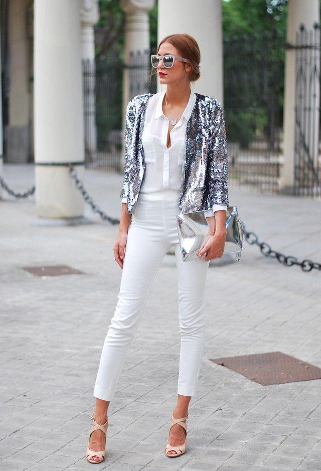 Todas las ideas de combinación blancos para la primavera elegante Apariencia: Reflejo de plata