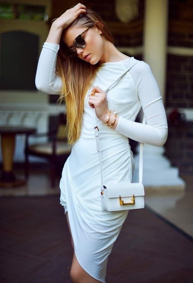 Todas las ideas de combinación blancos para la primavera aspecto elegante: vestido de una sola pieza