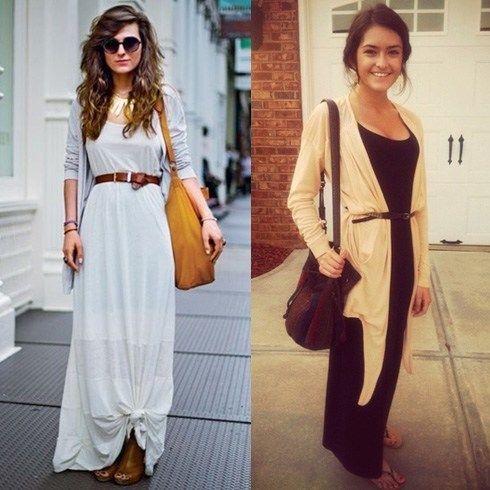 Use un Cardigan largo con un vestido