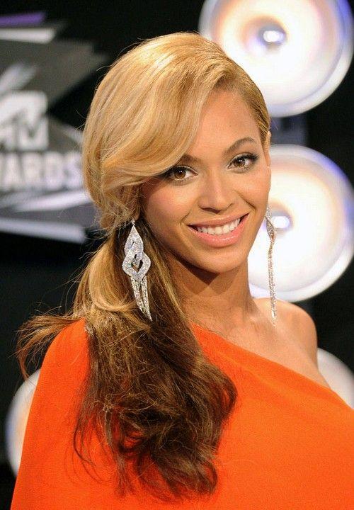 Beyonce largo rizado Peinado con Flequillo de lado para Prom