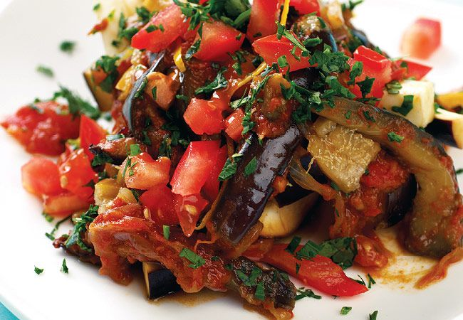 Berenjena al horno y tomate