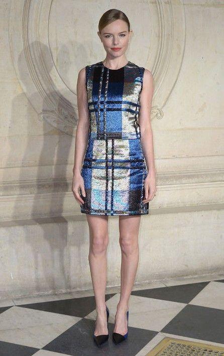 Cómo combinar la tendencia a cuadros como el oro metálico y de kate bosworth tejida a través de vestimenta para un look de fiesta listo en la primavera de 2014