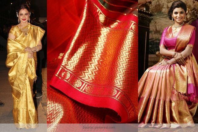 Haga que sus ajuar de novia miran rico en kanchipuram saris de novia