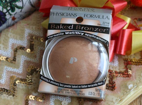 Fórmula médico baked bronceado bronceador y brillantes cara en polvo fotos y muestras
