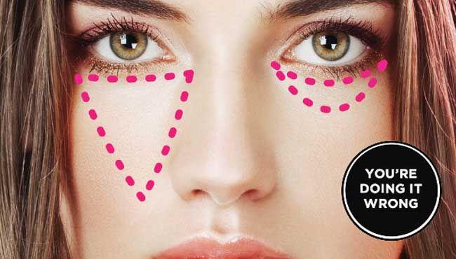 triángulo de sombra de ojos