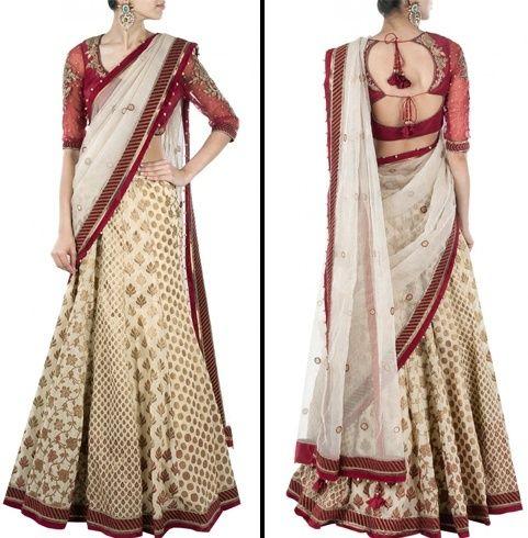 sari estilo Lehenga para la boda