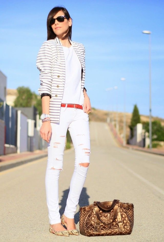 Jeans de moda blanco arrancó traje Idea
