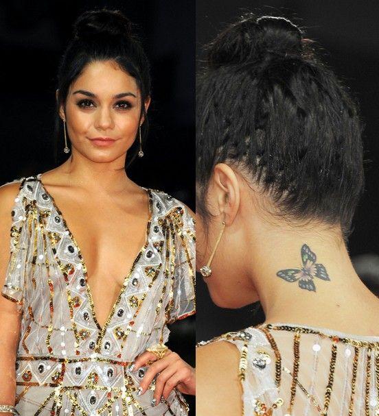 Tatuajes de vanessa hudgens - tatuaje de la mariposa en el cuello