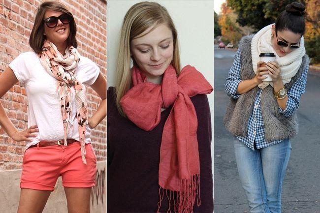 Diversas maneras de cómo utilizar pañuelos como accesorios, mientras que desafiando el frío