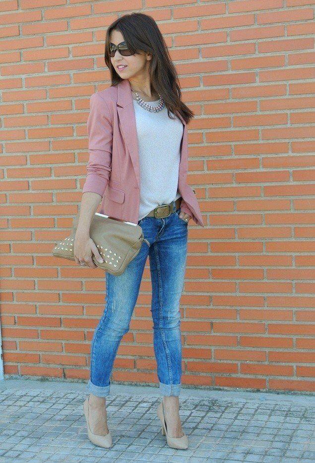 Idea camiseta blanca de vestimenta con Pink Blazer